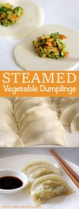 Steamed Vegetable Dumplings with carrot, broccoli and garlic @OmNomAlly