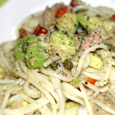 Lemony Avocado and Tuna Spaghetti