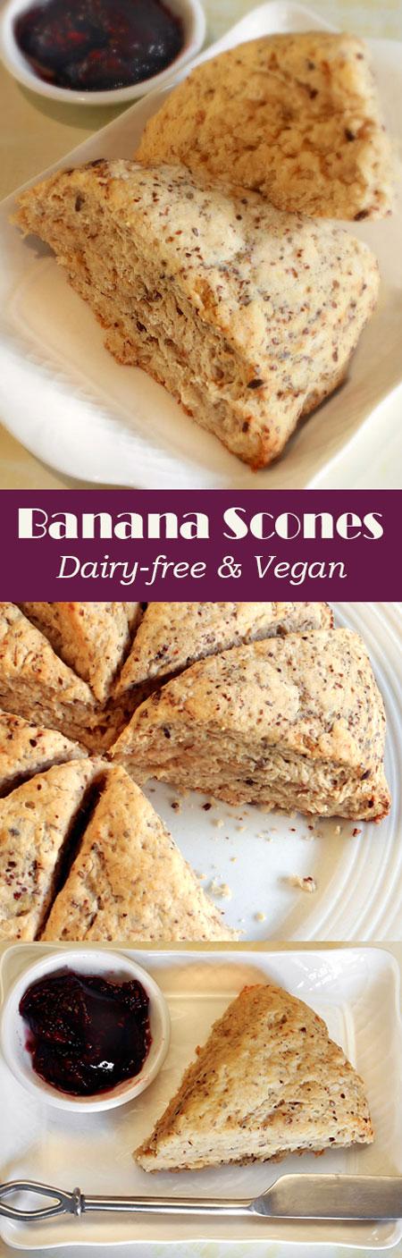 Dairy-free & Vegan Banana Scones @OmNomAlly