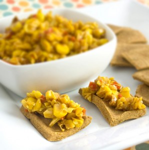 Chilli Corn Relish with Curried Red Lentil Crackers