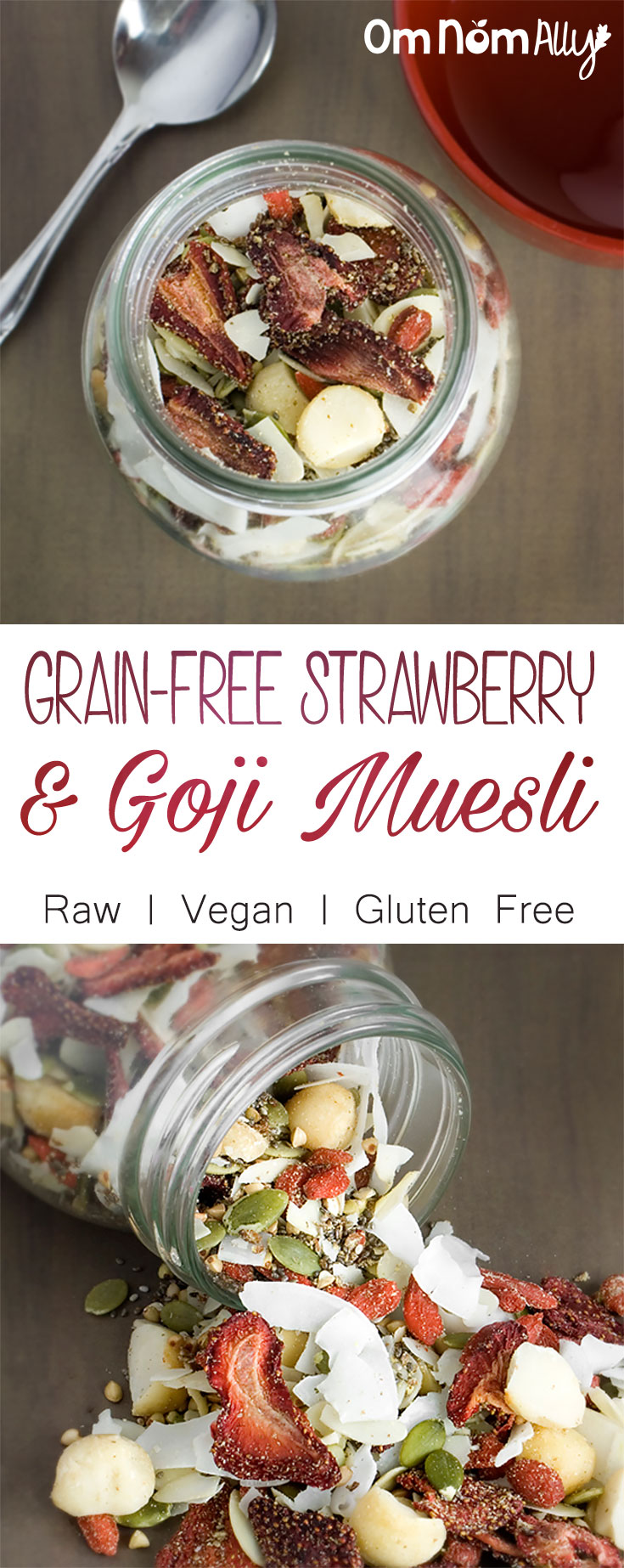 Grain-Free Strawberry & Goji Muesli - Raw, Vegan and Gluten Free