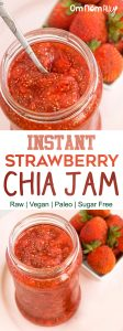 Instant Strawberry Chia Jam - Raw / Vegan / Paleo @OmNomAlly | No canning or cooking required - cheat your way to delicious strawberry (chia) jam!