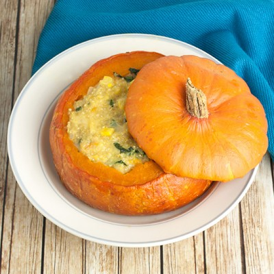 Cheesy Corn & Quinoa Stuffed Pumpkin