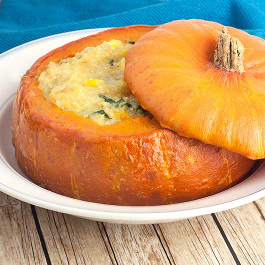 Om Nom Ally - Cheesy Corn & Quinoa Stuffed Pumpkin