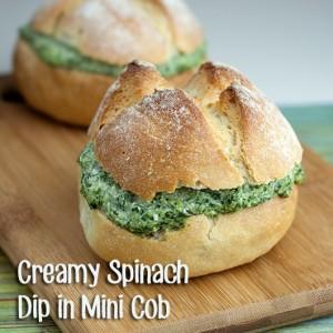 Creamy Spinach Dip in Mini Cob
