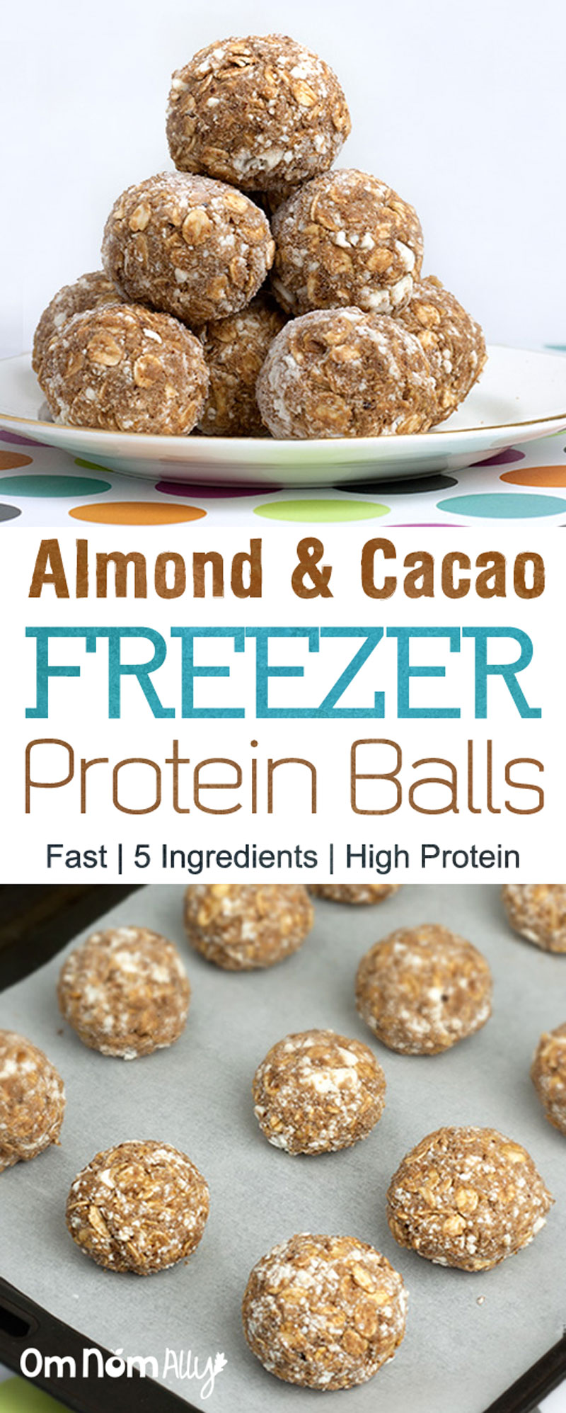 Almond & Cacao Freezer Protein Balls @OmNomAlly - If you want easy, home-made protein balls with only five superfood, wholegrain, nut and dairy ingredients - you've found the right recipe!