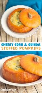 Cheesy Corn Quinoa Stuffed Pumpkins @OmNomAlly