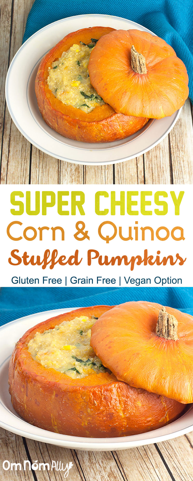 Super Cheesy Corn & Quinoa Stuffed Pumpkins @OmNomAlly | These Golden Nugget pumpkins were just made for stuffing - with thin, edible skin you can eat your cheesy corn and quinoa stuffing and then your pumpkin bowl too!