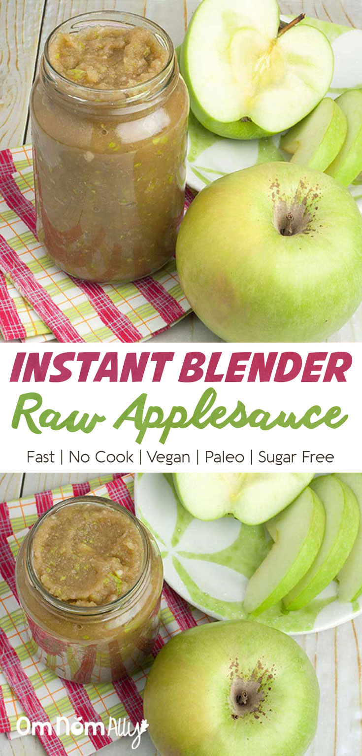 Instant Raw Applesauce @OmNomAlly - Vegan Paleo Sugar-free No Coo