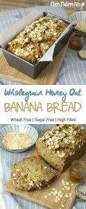 Wholegrain Honey Oat Banana Bread @OmNomAlly Wheat free, sugar free and high fibre