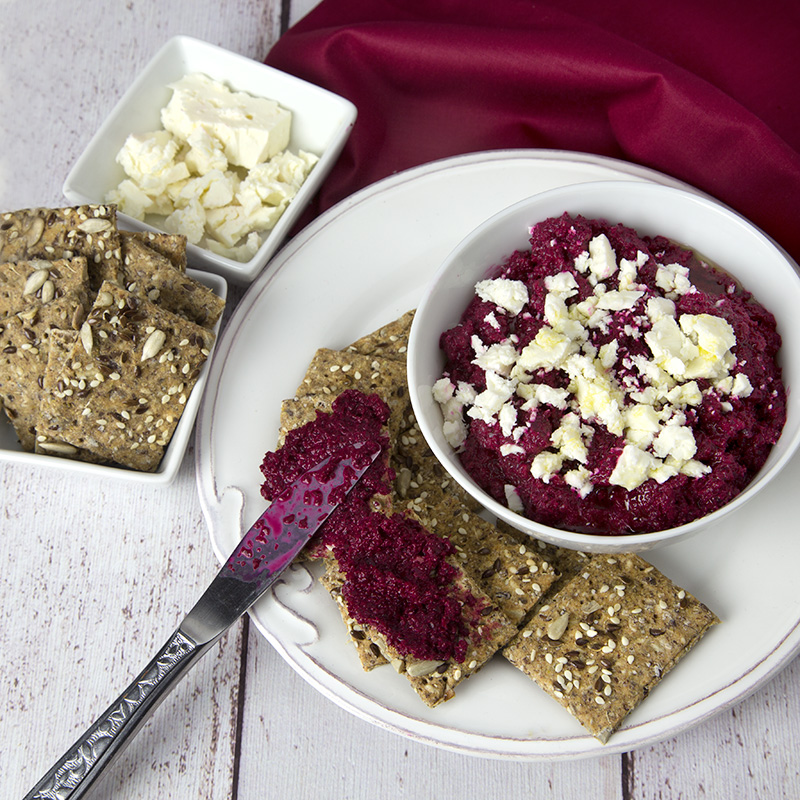 Fiery Beetroot Dip with Feta & Salty Seeded Crackers | Om Nom Ally