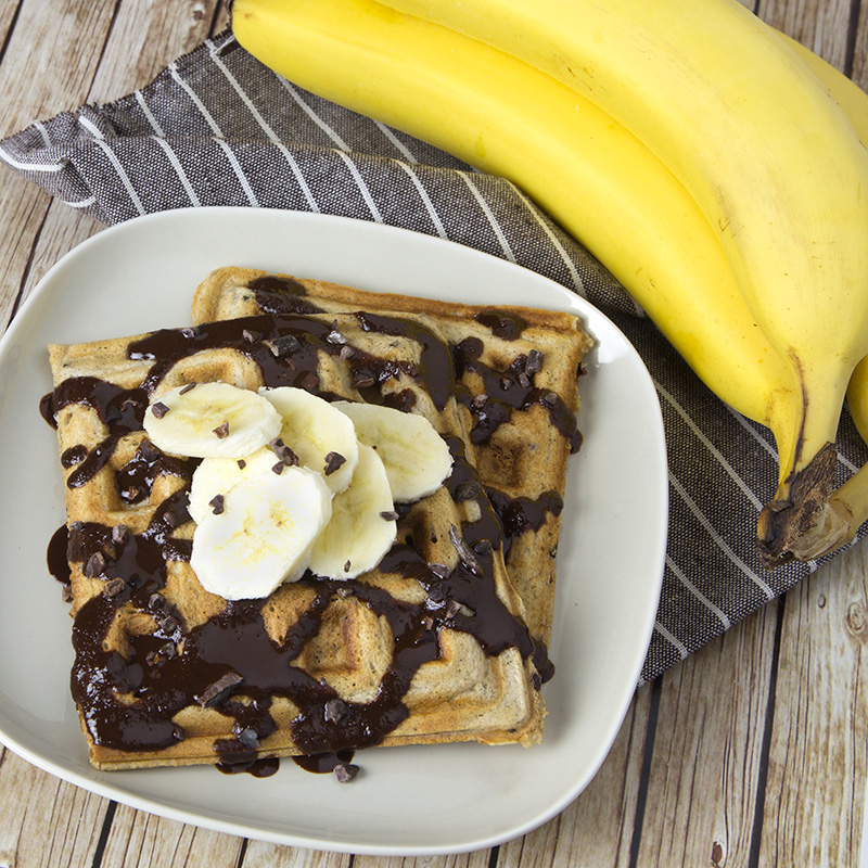 Sourdough Banana Choc Nib Waffles | Om Nom Ally