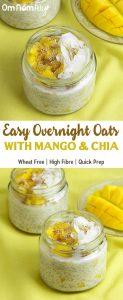 Easy Overnight Oats with Mango & Chia @OmNomAlly - Quick Prep, Gluten-free, High Fibre!
