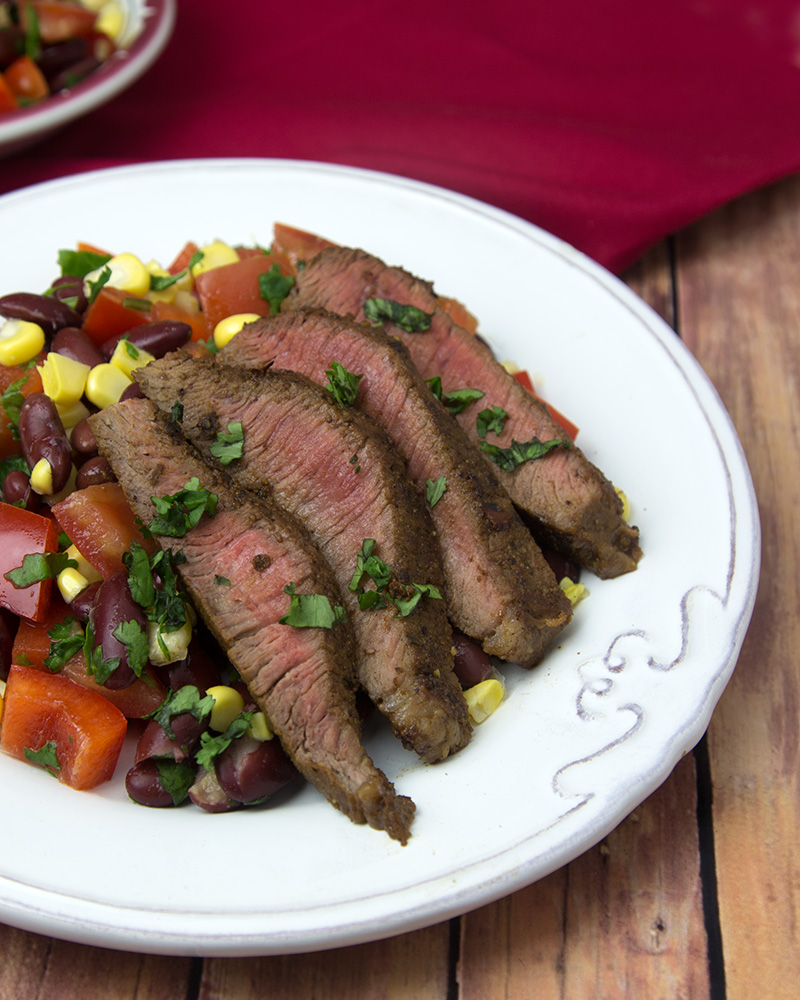 Mexican Chilli-Rubbed Steak with Corn Salsa @ Om Nom Ally