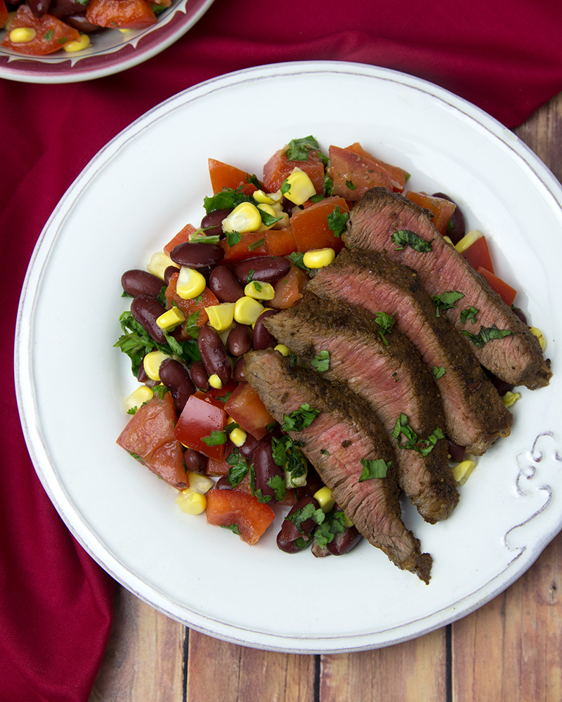 Mexican Spice Rubbed Steak with Corn Salsa @ Om Nom Ally