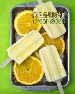 Orange Creamsicle Pops (Vegan, Paleo) @OmNomAlly | Unlike packaged Creamsicles, these creamy orange popsicles have five easy to find, easy to pronounce, nourishing ingredients - with no CRAP!