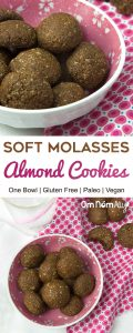 One Bowl Soft Molasses Almond Cookies @OmNomAlly   What's even better than a spicy, molasses cookie? Less washing up after baking! This one bowl, baking recipe with almond meal, blackstrap molasses, coconut oil and spices ticks all the boxes for a delicious, nutritious and low-effort baking adventure.