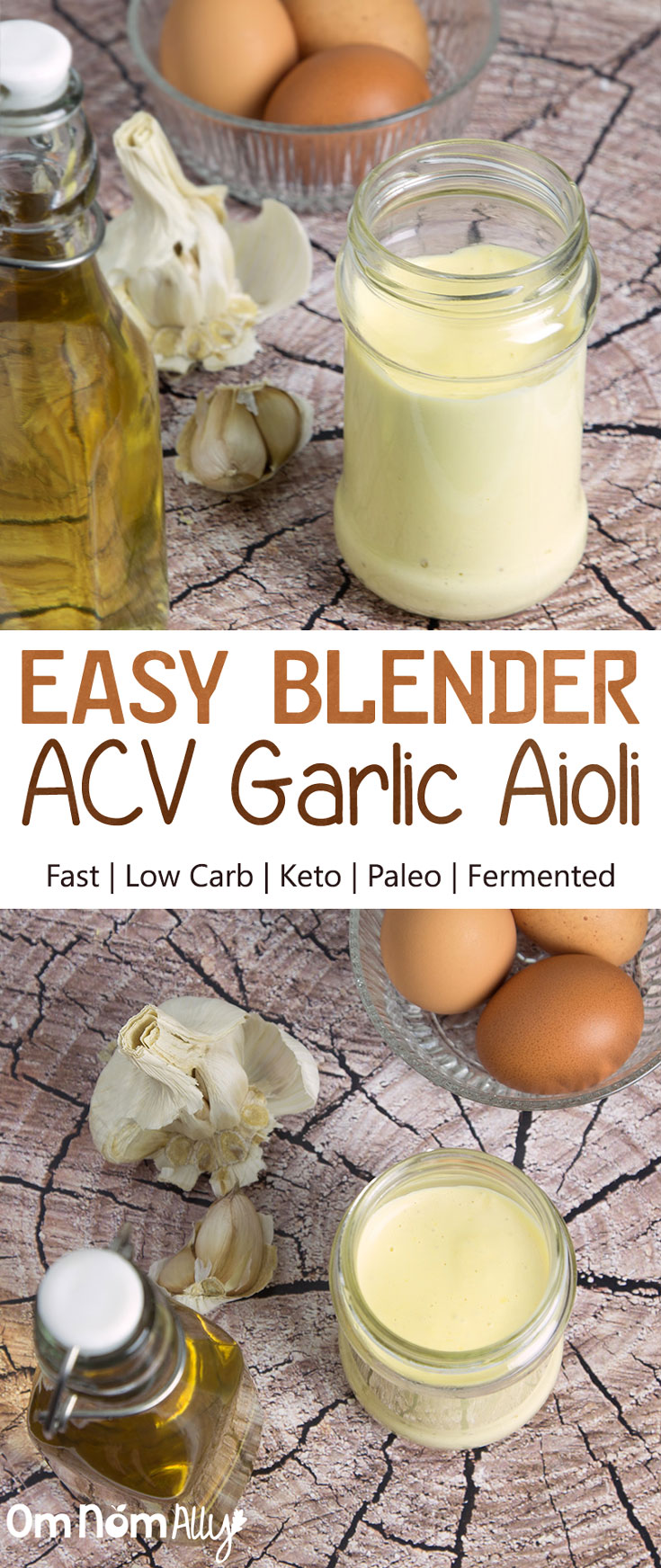 Easy Blender Apple Cider Vinegar Garlic Aioli @OmNomAlly - This Low Carb, Keto, Paleo condiment goes on EVERYTHING!