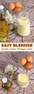 Easy Blender Apple Cider Vinegar Garlic Aioli @OmNomAlly - This Low Carb, Keto, Paleo condiment goes on EVERYTHING!