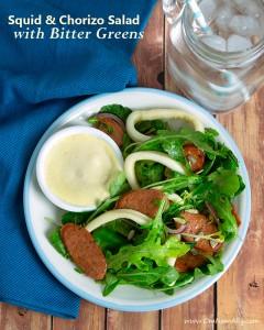 Squid & Chorizo Salad with Bitter Greens + Smoked Paprika Aioli @OmNomAlly
