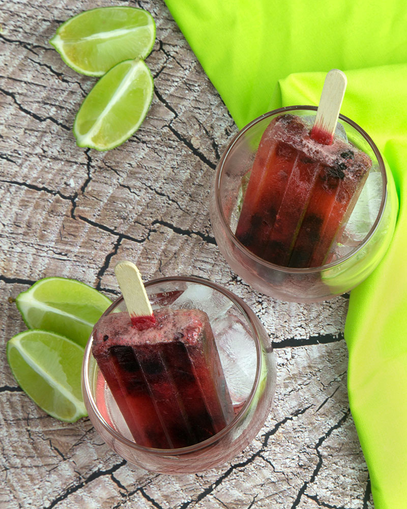 Muddled Mixed Berry & Lime Popsicles @OmNomAlly