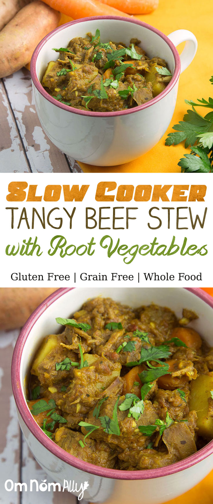 Slow Cooker Tangy Beef Stew with Root Vegetables @OmNomAlly - are you ready for this gluten-free, grain free and wholefood beef stew - WITH a paleo option?