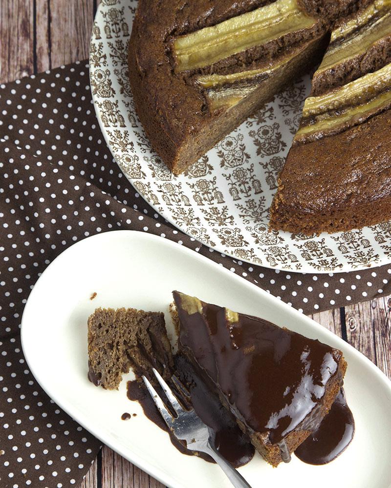Whole Grain Chocolate Banana Cake with Chocolate Syrup @OmNomAlly