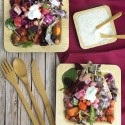 Product Review: Restaurantware Eco Friendly Tablewear + Beetroot, Sweet Potato & Chickpea Salad with Herbed Yoghurt Dressing + Berry-Beet Rooibos Smoothie