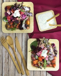 Product Review: Restaurantware Eco Friendly Tablewear + Beetroot Sweet Potato & Chickpea Salad with Herbed Yoghurt Dressing @OmNomAlly