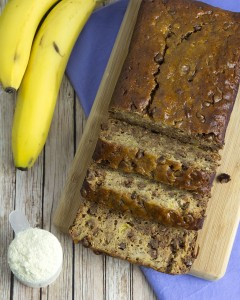 Choc Chip Protein Banana Bread @OmNomAlly