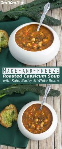 Make-and-Freeze Roasted Capsicum Soup with Kale, Barley & White Beans @OmNomAlly