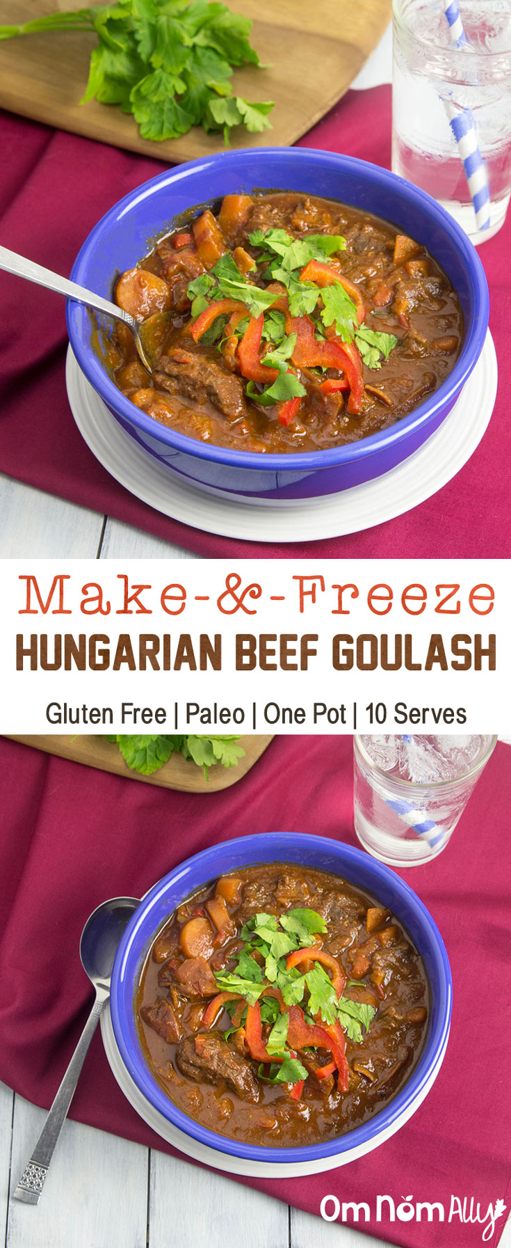 Make-&-Freeze Hungarian Beef Goulash @OmNomAlly - This one pot meal is Paleo, Gluten-free and makes 10 serves for your freezer - dinner is sorted!