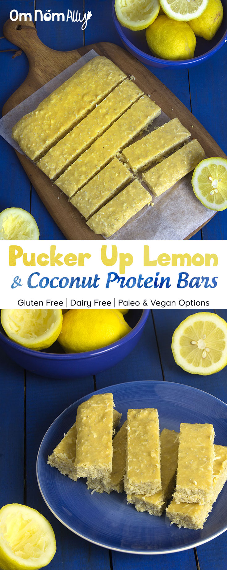 Pucker Up Lemon Coconut Protein Bars Omnomally