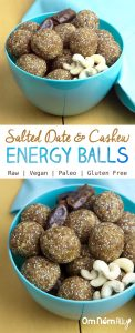 Salted Date and Cashew Energy Balls @OmNomAlly #RAW #VEGAN #GLUTENFREE #PALEO