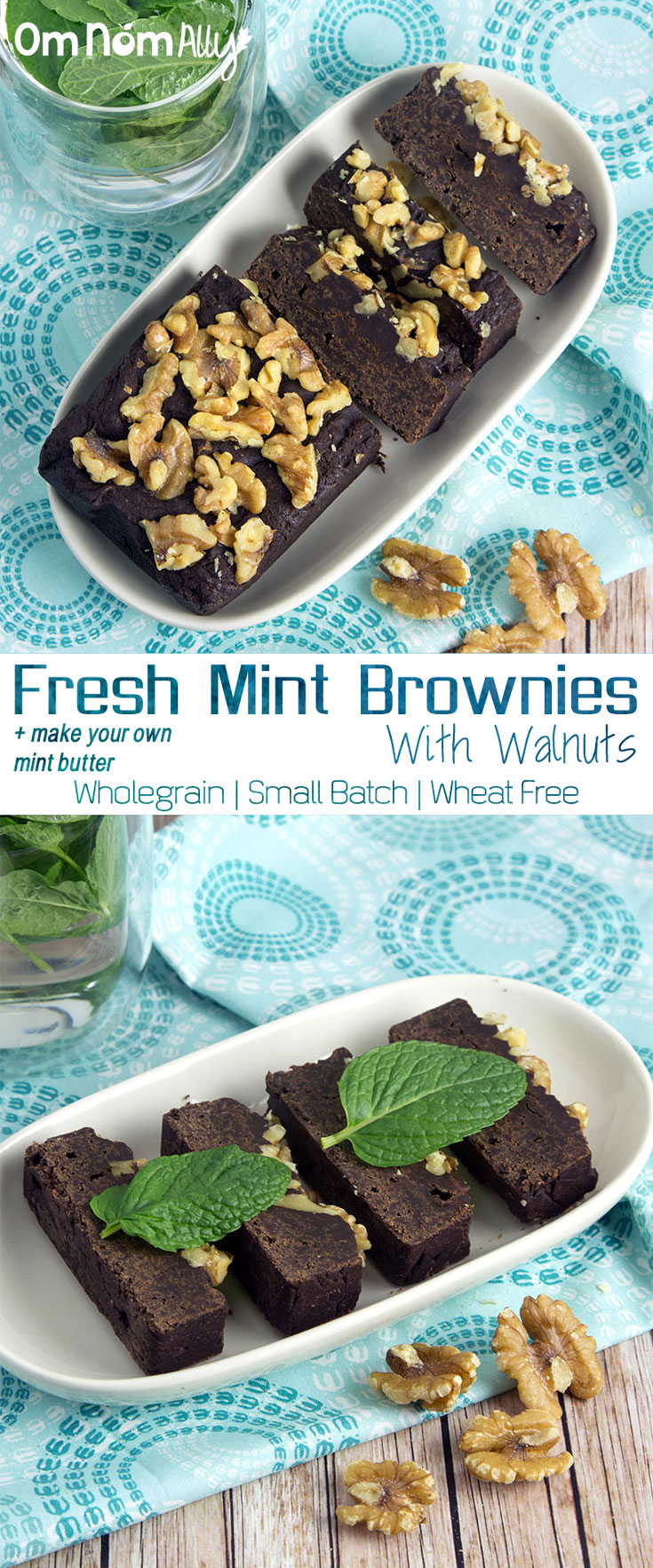 Fresh Mint Cacao Brownies with Walnuts @OmNomAlly