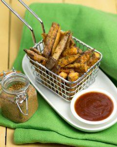 Super Crispy (Baked) Cajun Sweet Potato Fries @OmNomAlly Vegan, Paleo & Gluten-Free!