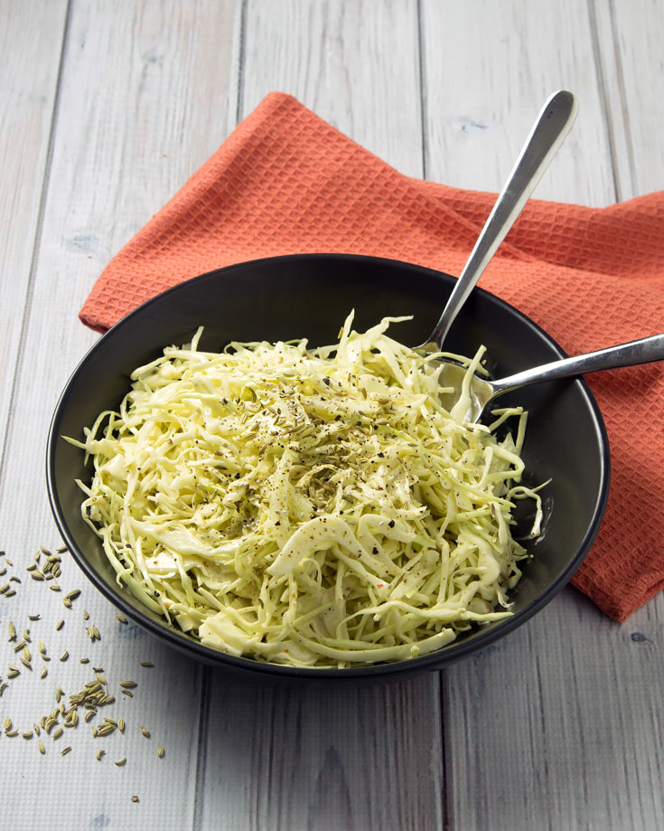 Low Carb Green Cabbage & Fennel Coleslaw - This fast low carb slaw is gluten-free, dairy-free and paleo, with the gut healing benefits of raw apple cider vinegar.