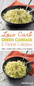 Low Carb Green Cabbage & Fennel Coleslaw - This fast, low carb slaw is gluten-free, dairy-free and paleo, with the gut healing benefits of raw apple cider vinegar.