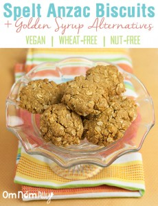 Spelt Anzac Biscuits Golden Syrup Alternatives @OmNomAlly