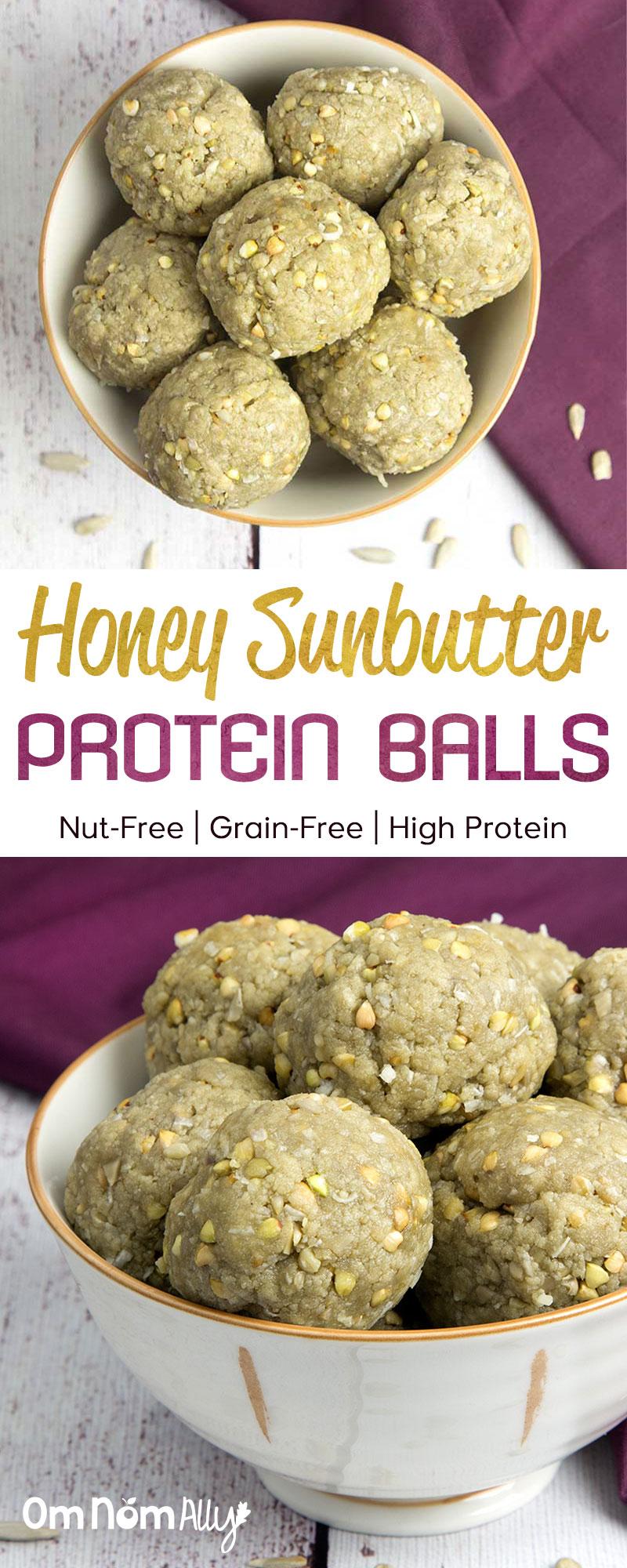 Nut-Free Honey Sunbutter Protein Balls @OmNomAlly