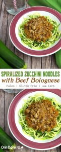 Spiralised Zucchini Noodles with Bolognese @OmNomAlly - This beef bolognese sauce, with it's hidden carrot and celery, is a simple and nourishing addition to be spooned over our favourite zucchini-based noodles.