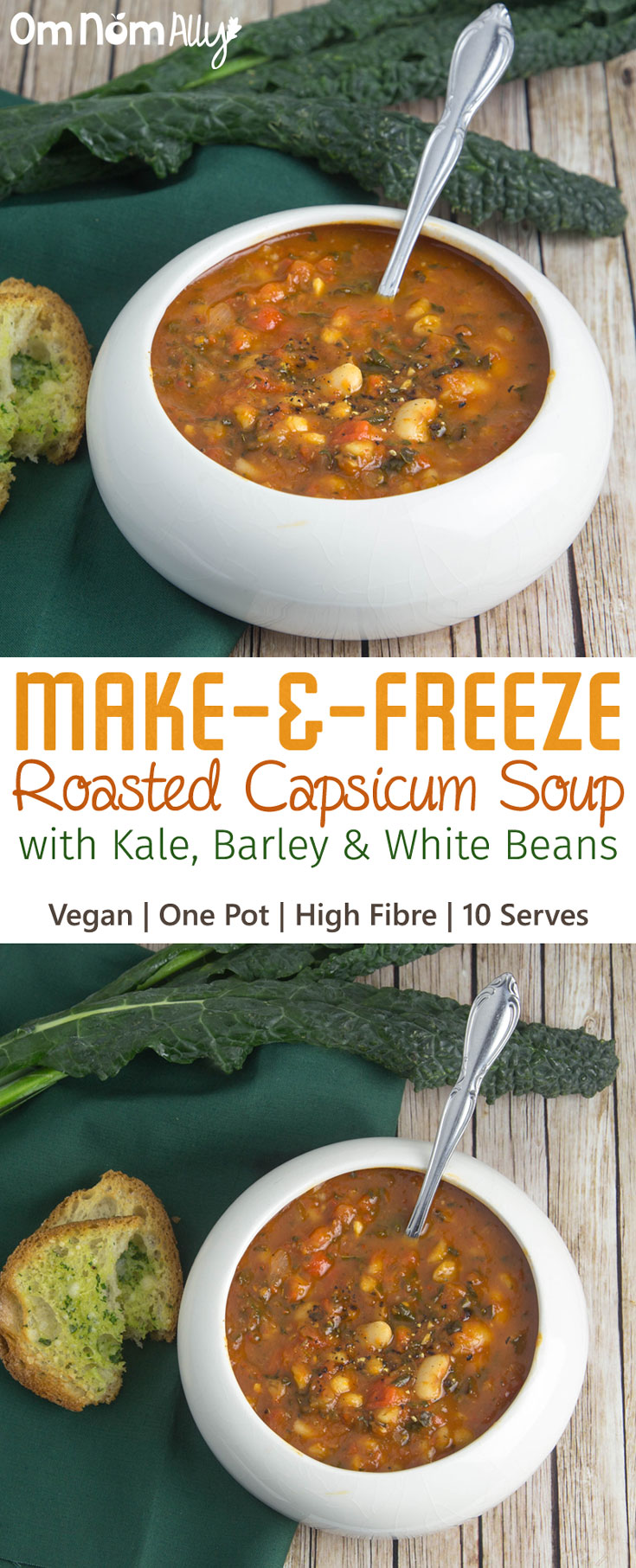 Make-and-Freeze Roasted Capsicum Soup with Kale, Barley & White Beans @OmNomAlly is Vegan, High Fibre and makes 10 serves from one pot!