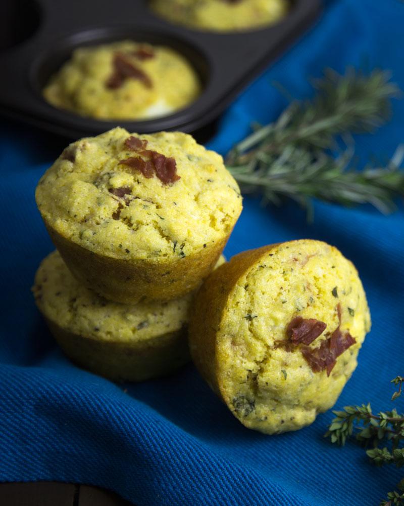 Giant Herbed Polenta Prosciutto & Feta Muffins @OmNomAlly