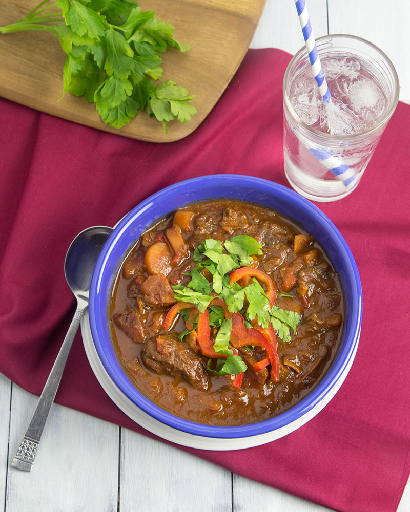 Make-and-Freeze Hungarian Beef Goulash @OmNomAlly | Make this Hungarian Beef Goulash once, and enjoy over and over! This recipe makes 10 delicious stew servings ready to freeze and reheat for easy dinners.