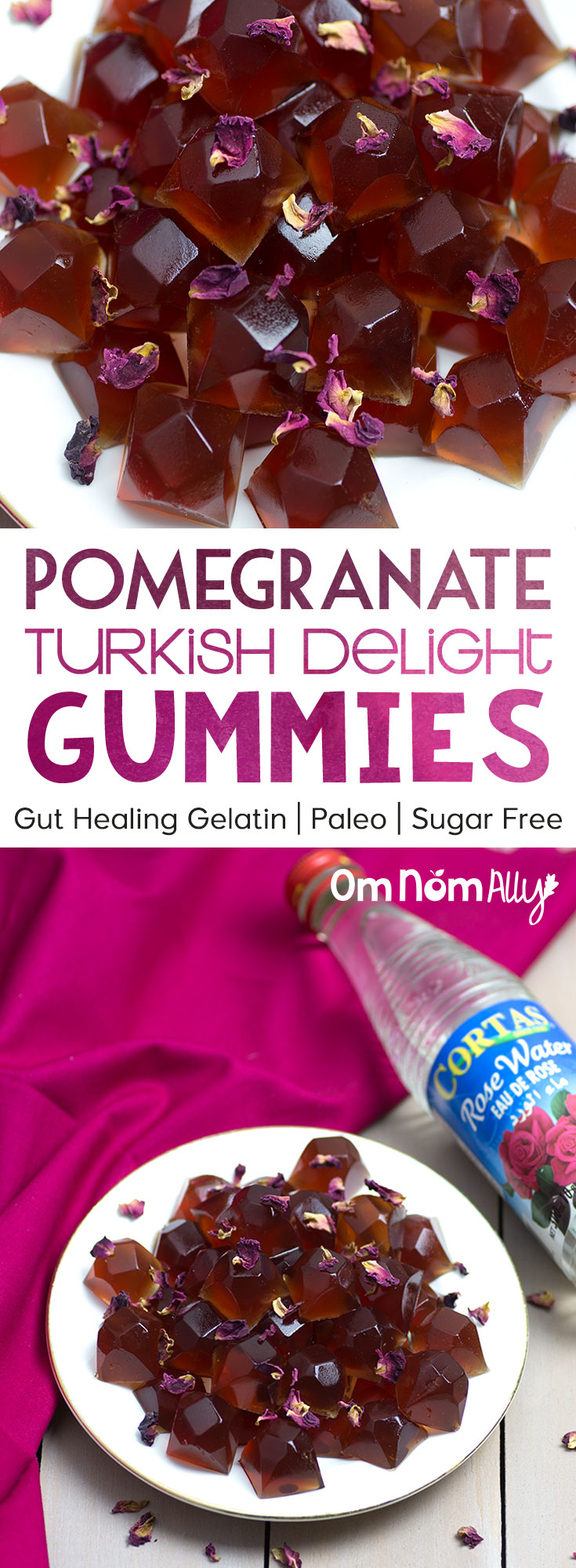 Pomegranate Turkish Delight Gummies with Grass Fed Beef Gelatin @OmNomAlly